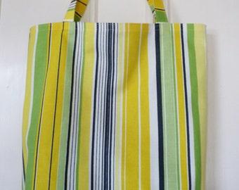 shopping bag - green & yellow stripes