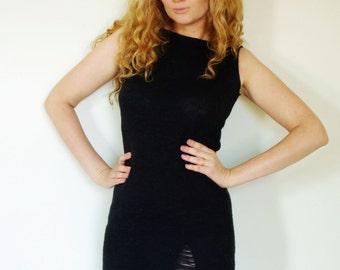 Black Fine Knit Ripped Mini Dress Cotton blend