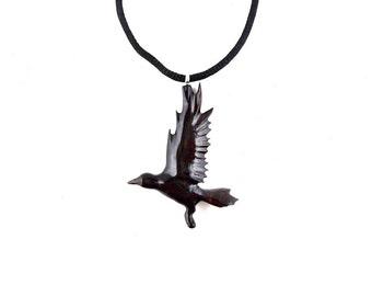 Crow Necklace, Crow Pendant, Raven Necklace, Raven Pendant, Wood Raven Necklace, Gothic Raven Pendant, Totem Crow Jewelry, Raven Jewelry