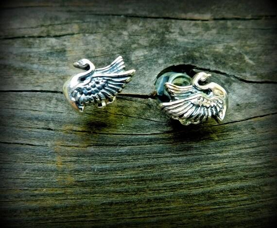Sterling silver swan earrings, post earrings, nature jewelry, bird earrings