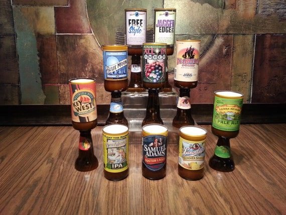 Beer Candle Handmade Gift choose Recycled Beer Bottle & Scent with Pedestal