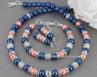 Coral and Navy Jewelry Set, Navy and Coral Necklace Bracelet and Earrings Set, Bridesmaids Gift, Summer Wedding, Coral and Navy