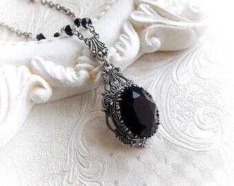 Gothic black Swarovski crystal necklace gothic victorian black crystal pendant necklace renaissance bridal bridesmaid romantic necklace