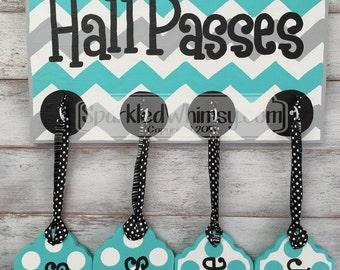 Hall Passes Sign for Classroom Classroom Decor, Teacher Gift, Teacher Sign, Bathroom Pass, Teacher Name Sign (Bahama Blue, Grey Sky)
