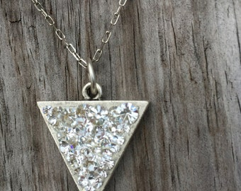 Diamond Druzy Triangle Pendant - Cluster Necklace - Triangle Bohemian Jewelry - Personalized Jewelry - Gift for Her - Bridesmaid Gift - Gift