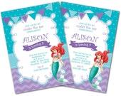 Little Mermaid Invitation, Little Mermaid invite, Ariel invitation, Ariel Invite, Photo invitation, Birthday invitation, Princess Ariel (1)