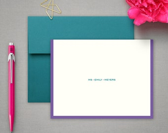Personalized Stationery - Folded Note Cards with Colorful Border - Notecard Gift Set - Personalized Stationary