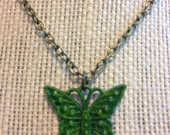 "14"" Bronzed Green Butterfly Necklace"