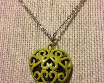 """22"""" Bright Yellow Hollow Heart Necklace"""