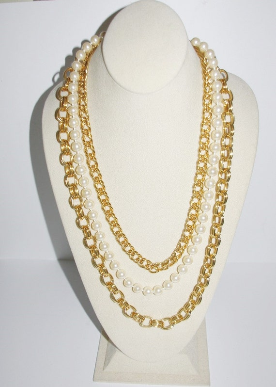 Joan rivers necklace convertible 3 in 1 gold tone and pearls for Joan rivers jewelry necklaces