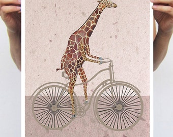Giraffe on bicycle : Art Print Poster A3 Illustration Giclee Print Wall art Giraffe art Wall Decor Animal Painting Digital bicycle fun