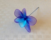 Purple and blue orchid flower (set of 24), nylon flowers, weddings decoration, parties, cake decorations