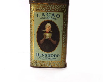 Antique Tin Box Bensdorp Cocoa Dutch Lithographed Tin Collectibles Advertising Tin Circa 1920s