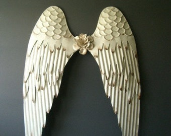 Warm White angel wings wall decor-White with Rustic edges-Holidays decor- Nursey decor