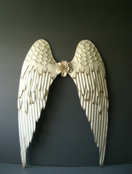 Warm white angel wings wall decor white with rustic for Angel wings wall decoration