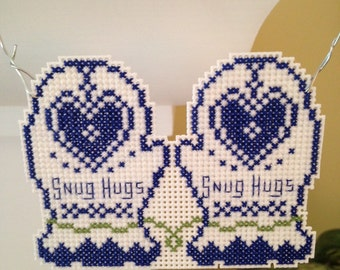 New Snug Hugs Holiday Mitten Christmas Cross Stitch Ornament