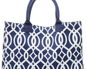 Personalized Navy Vine Womens Tote Bag 3 Colors
