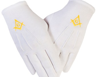 Freemasons Masonic Gloves with embroidered Gold  S C + G