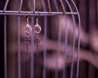 Silver Swirl and Key Earrings