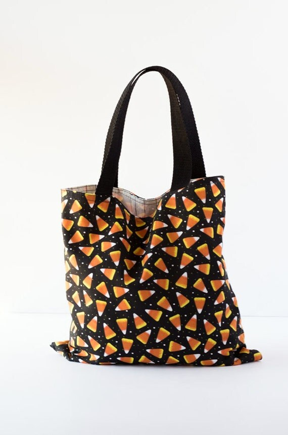 Trick or Treat Bag, Halloween Tote Bag, Candy Corn, Spiders, Black, Orange, and White Cotton Fabrics, Handmade