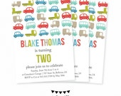 Transportation Invitation Birthday Baby Boy Cars Trucks invite Printable Baby Boy Invitation First Birthday Party Invite Transportation