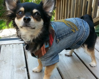 Upcycled fleece lined denim jacket for small dog - 6-8 lbs (depending on dog) see measurements