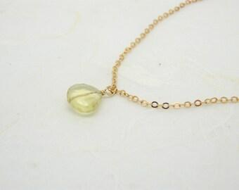 Lemon quartz necklace, Gemstone necklace, Yellow quartz, Semiprecious stone necklace, Yellow stone necklace, Delicate necklace, Gold filled