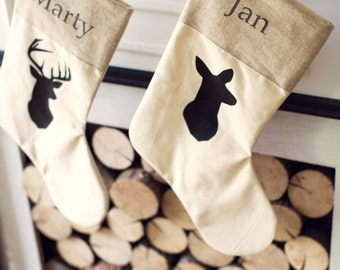 Personalized Rustic Chic Buck and Doe Stockings - Set of 2 silhouette Deer family Rustic christmas Antler Neutral Stocking