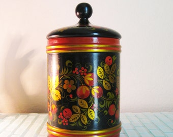 Black Gold Lacquer Wood Canister USSR 10 inches