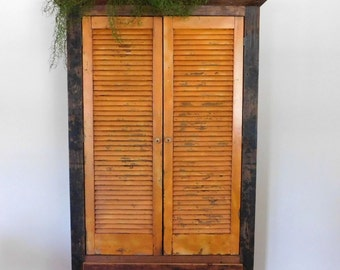Armoire / Wardrobe / Cabinet for Storage with VIntage Orange Shutters *One of a Kind*