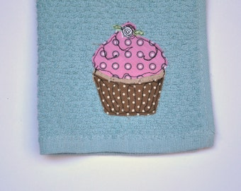 Vintage Inspired Cupcake Dish Cloth Blue Gray Pink