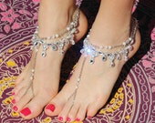 Gold or SILVER Diamond Barefoot Sandals, Beach brides, honeymoons, Bellydancing, formal jewellery, prom jewellery, Diamante One size- 'Anja'
