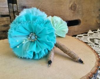 Pen For Wedding Guest Book, Handmade Flower Pen, Shabby Chic Wedding Pen, Rose Pen, Turquoise Pen, Mint Pen, Robin's egg Blue Pen