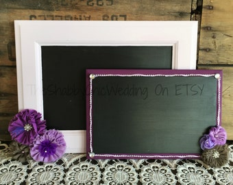 Chalkboards, Set Of Two Custom Chalkboards, Plum and Lavender Wedding Decorations, Wedding Signs, Bar Signs, Reception Chalkboard Signs