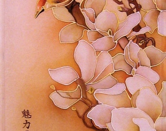 Painting on  silk -Magnolia.- Cold batik. Flowers and birds. Made to order.