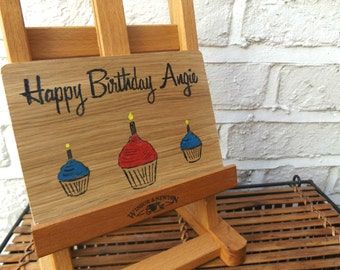 Personalised Birthday card - Oak Wood Happy Birthday Card - Birthday Greeting Card - Gift - Cupcake - Candles - Card - For Him - For Her