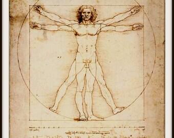Art Print Vitruvian Man Leonardo da Vinci 1487 Print