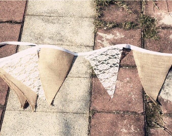 SALE Vintage Style White Lace Burlap Flag Bunting Banner - Wedding baby shower Kids Birthday Party Decorations Supplies