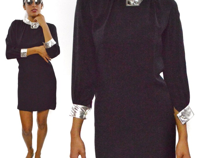 Vintage 60's Mod Space Age Black & Silver Shift Dress with Buckle on Collar