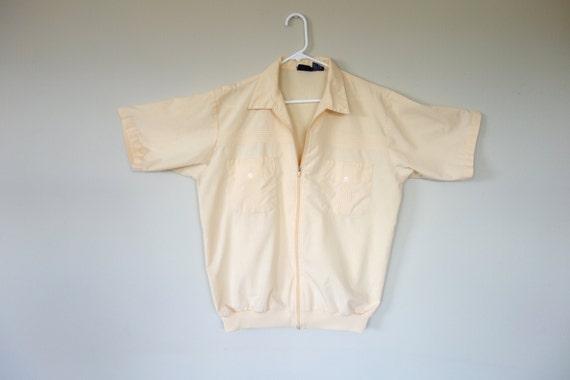 1960s summer jacket, men's light jacket, short sleeve jacket, peach coat, John Blair jacket, cotton jacket, XL