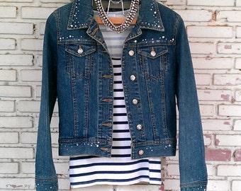 Vintage Jean Jacket with Rhinestone / Vintage Jean Jacket Women Size: S