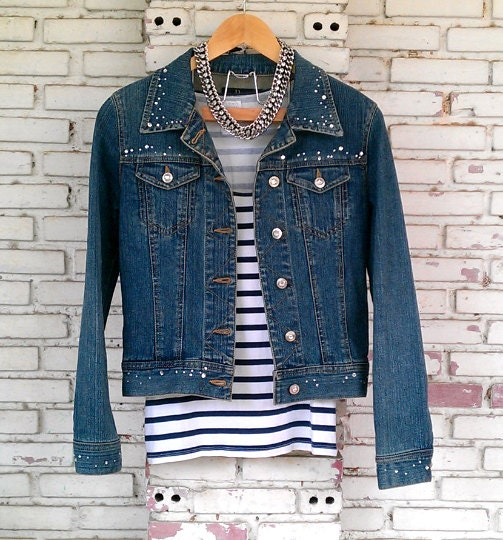 vintage veste en jean avec strass vintage veste en jean. Black Bedroom Furniture Sets. Home Design Ideas