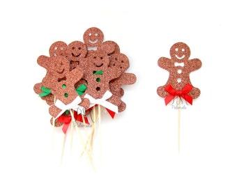 12 Glitter Gingerbread Man Cupcake Toppers - Christmas Cupcakes, Christmas Cupcake Toppers, Christmas Party Picks, Christmas Food Picks