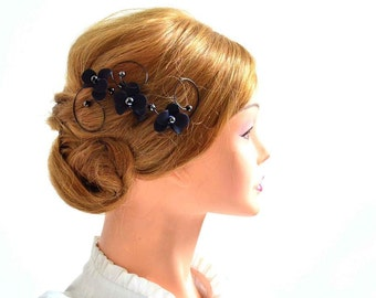 Black headpiece Navy blue headpiece Orchid hair comb  Bridal hair comb Wedding headpiece Floral headpiece Wedding hair accessories