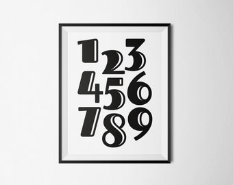 Printable poster,Numbers Poster, Nursery Poster, 123456789 Poster, Scandinavian Poster, Number print, Instant download, Math poster