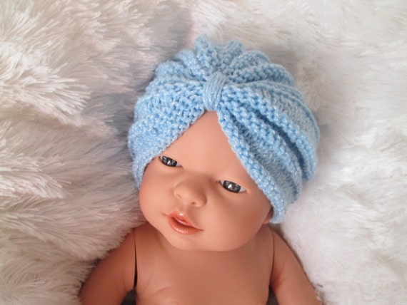 Items similar to Crochet baby turban blue Infant knit baby ...