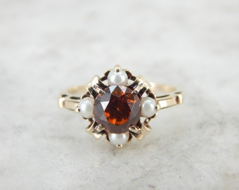 Rare and Important Golden Zircon and Seed Pearl Ring 93LLW3-P