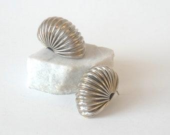 Vintage Chunky Earrings, Silver Tone Earrings, Big Post Earrings,Shrimp Earrings,Large Earrings,Post Earrings,Statement Jewelry,Bold Jewelry
