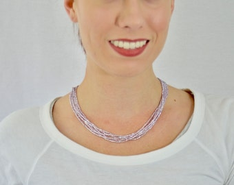 Light purple necklace, lilac necklace, statement necklace, wedding necklace,multistrand,beaded necklace, bridesmaid necklace,violet necklace
