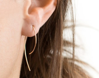 Small Arc Threader Earrings, 14k Gold Filled Earring, Sterling Silver, Rose Gold Fill, Open Hoops, Wire Form Earrings Layered and Long LE406